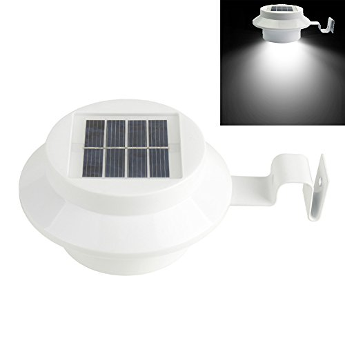 Solar Lights, Alotm 3 Led Solar Gutter Lights Wall Sconces with Mounting Pole, Waterproof Outdoor Motion Sensor Detector Light, Security Night Light for Patio, Yard, Garden, Sink, Villa (Cool White)