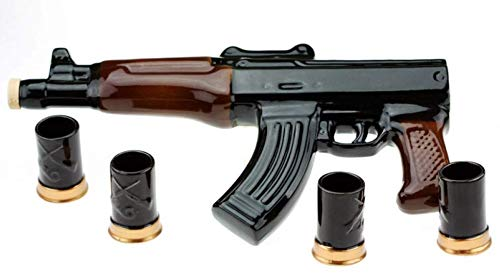 (big ceramic bottle-shtof kalashnikov rifle ak-47 souvenir decanter for whiskey vodka brandy wine 1L wit h 4 wineglasses )