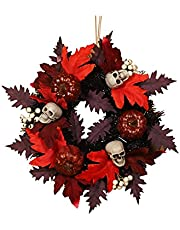 Witch Halloween Wreath with Hat Legs Happy Halloween Wreath for Front Door,Artificial Maple Pumpkin Wreath for Halloween Decorations ,Black Orange Ornaments for Party Pendant Home Decor(18-24 Inch)