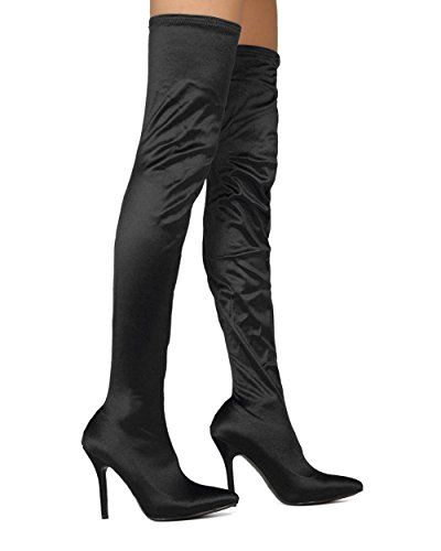 Women Thigh High Stocking Boot - Over The Knee Stiletto Boot - Costume Cosplay Dress Up Dressy Party Boot - SHE61 By MACKIN J Collection - Black Satin (Size: 9.0)