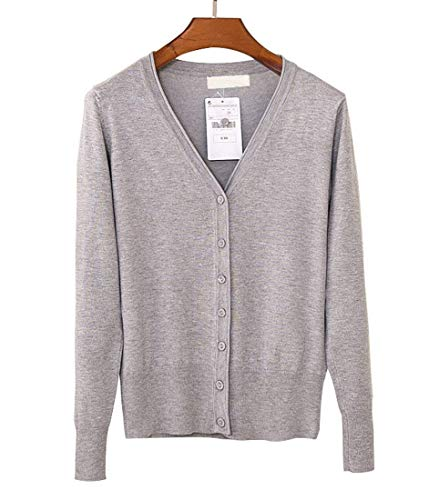 Donna Top Primaverile Slim V Vita Basic Lunga Breasted Neck Outwear Maglione Grigio Alta Manica Lana Fit Autunno Ragazza Single Chiaro Maglie Size Abbigliamento XL Monocromo Color drrqwXC