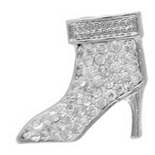 Boot Shoe High Heel Clear Crystals Snap Button interchangeable with Noosa and Ginger -