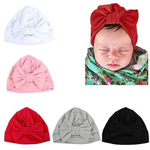 Gellwhu Pink White Blue Newborn Girl Nursery Beanie Hospital Hat with Large Bow