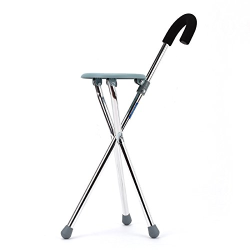 jiaminmin Folding Tripod Crutches Stainless Steel Elderly Sticks Multifunctional Telescopic Belt Seat Thickening Folding cane Edition Folding the tripod Folding Walker By by jiaminmin