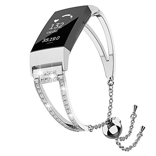TOYOUTHS Metal Bracelets Compatible with Fitbit Charge 3 Bands and Charge 3 SE Watch Bands for Women Replacement Wristband Accessories Bangle Fitness Strap with Rhinestones Silver