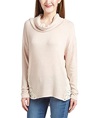 MC Ladies Turtleneck Long Sleeve autumn winter Dropped Shoulder Crochet Top