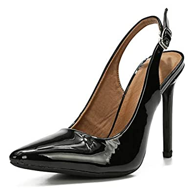 LIURUIJIA Womens Office Basic Slip on Pumps Slingback Stiletto High-Heel Pointy Toe Shoes for Party Dress 66613 Black Size: 5.5