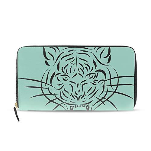 Women Abstract Tattoo Tiger Print Handbag Luxury Long Zipper Clutch Wallet Purse PU Leather Phone Card Holder