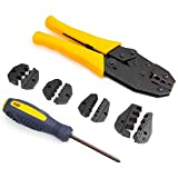 Interchangeable Hand Cable Crimper Tool Set Plier Striper Wire Crimping w/ Screwdrivers & Storage Bag