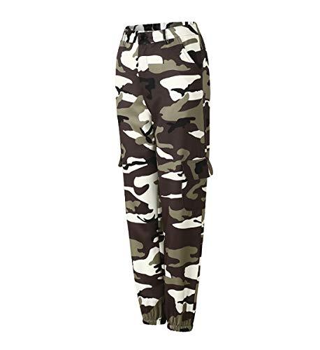 Tasche Alta Pantaloni Grigio Pants Sciolto Pantaloni sportivi Pantaloni Cargo con Donna Jeans Vita Mimetici JLTPH IUY8qW