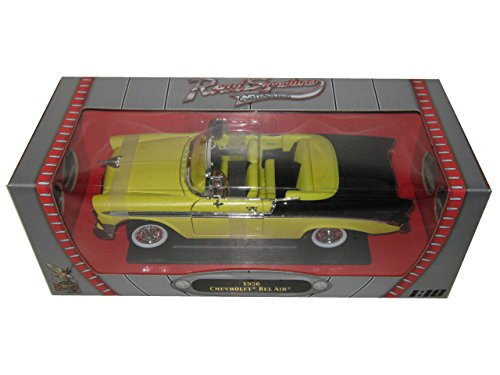 1956 Chevrolet Bel Air Convertible Yellow/Black 1/18 by Road Signature 92128