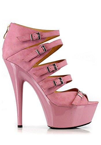 - ELLIE Shoes Strappy Sandal Open Toe Platform Ankle Heels Buckles 609-UNA Pink-9