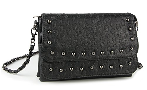 Women Black Punk Skull Rivets Flap Cross Body Bags with Chain Strap (Skull Gothic Bag)
