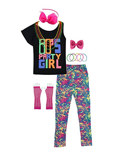 80s Party Girl Child T-Shirt Neon Leggings Complete 1980s Costume Accessories (7/8, Hot Pink)]()