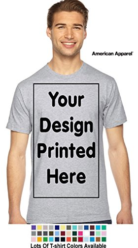 Custom T-Shirt. Personalized Tee. Add Your Design Logo Image Picture (L, Heather Grey - American Apparel)