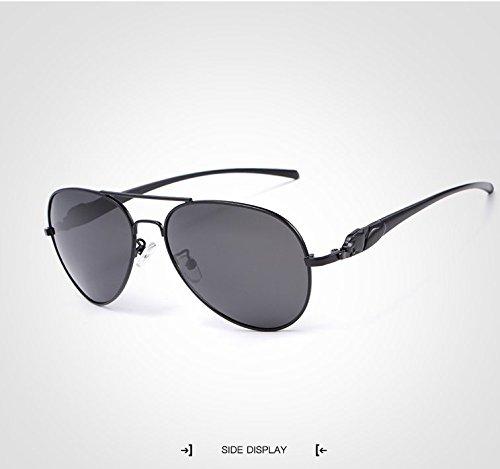 Sol Gafas de para Conducción Gafas Metallic Sol Moda Hombre Espejo Sol de de Gafas de Gafas Gafas Sol Adultos UV400 Vintage Mujer Gran GR para Unisex Polaroid Color de Sol Black de t1wqPS