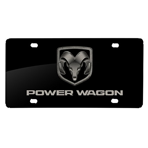 iPick Image Matt-Look Laser Mark Black Acrylic License Plate RAM-1500 - RAM Power Wagon ()
