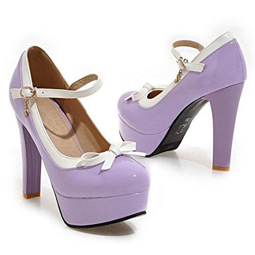 Shoes Fashion Women's Heel High Court TAOFFEN Bow Purple With vXfwqx