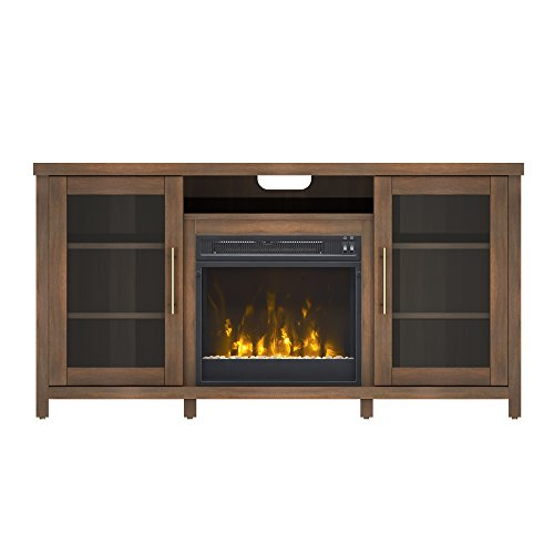 Pamari 208282 Milena Stand with Electric Fireplace for Tvs up to 60'' Stanton Birch Brown by Pamari