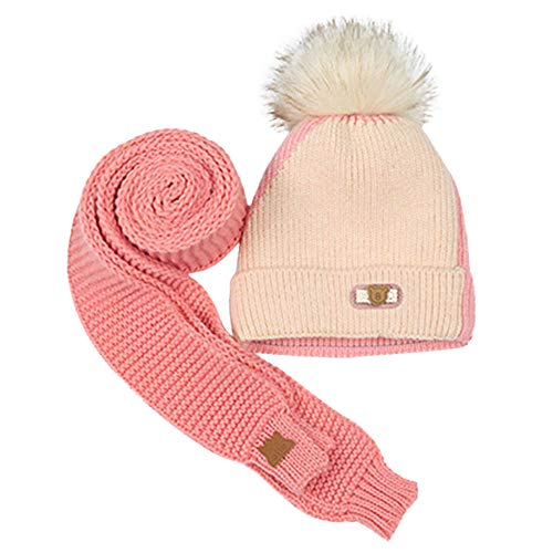 EnjoCho Clearance Sale!8M-3YBaby Children Boys Warm Winter Hairball Knitted Beanie Hat Cap+Scarf Set ()