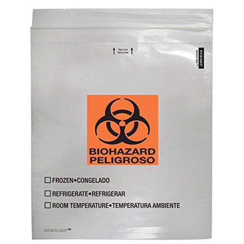 2-Pocket Zip-Closure Biohazard Specimen Bags 20