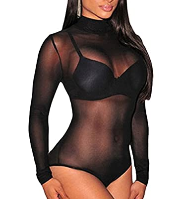 J&Design JomeDesign Women Black Sheer Mesh Long Sleeve Jumpsuit Bodysuits
