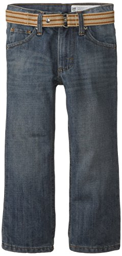 Lee Little Boys' Dungarees Belted Relaxed Fit Boot Cut Jeans, Mason, 5 Slim - Bootcut Striped Jeans