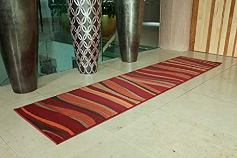 Amazon Com Warm Red Brown Green Burnt Orange Modern Waves Area Rug 2 1 X 7 10 Home Kitchen