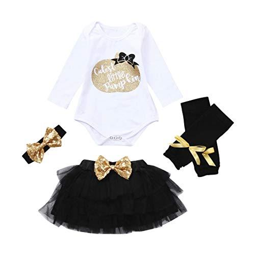 (4 piece Newborn Baby Girl Boy Clothes 6-12 Months Headband Gifts Long Sleeve Romper Bodysuit Tutu Skirt Legging Winter Outfit, Gold & White)