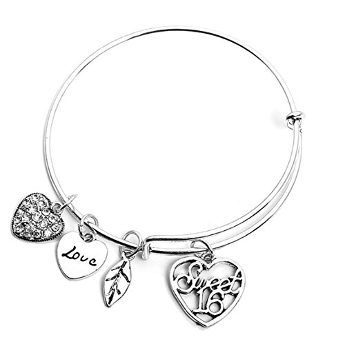 Infinity Collection Sweet 16 Charm Bangle Bracelet- Sweet 16 Jewelry - Sweet Sixteen Gift for Girls for $<!--$16.50-->