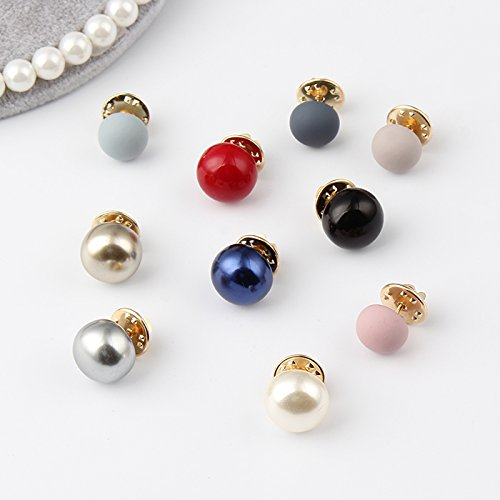 short pin buttons do not solid color igan sweater small pin brooch decorated round pearls do not ()