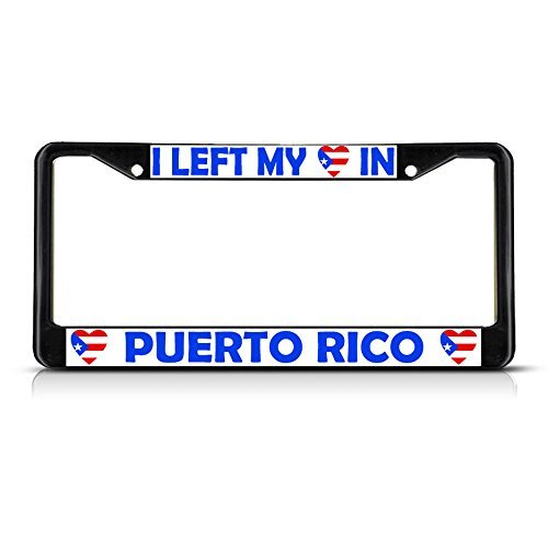License Plate Covers I Left My Heart In Puerto Rico Flag Black Metal License Plate Frame Tag Border (Mirrored License Plate Heart)