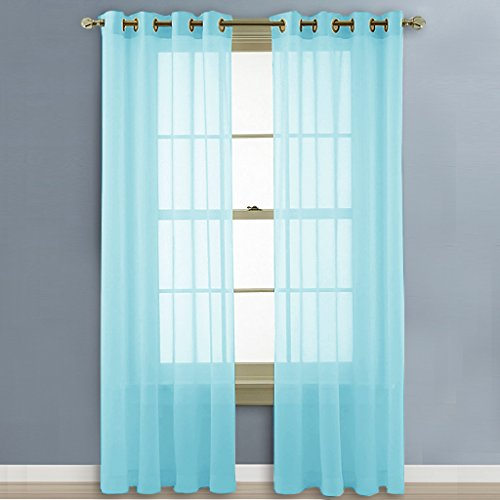 NICETOWN Sheer Curtains Panels / Drapes   Beautiful Grommeted Curtains For  Bedroom (Baby Blue, 2 Panels, W54 X L84 Inches)