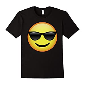 Mens HD Emoji Sunglasses Face Shirt - Emoticon Tee - Cool Emotag Large Black