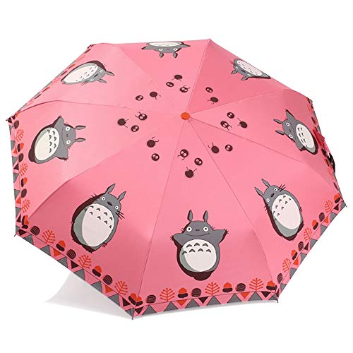 Finex­­ Fully Auto Open/Close Umbrella Totoro - Windproof - UltraSlim, Compact For Easy Carrying (Pink) ()