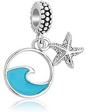 Casa De Novia Oceanic Starfish Charm Sea Wave Bule Enamel Tropical Bead fit Pandora Bracelets