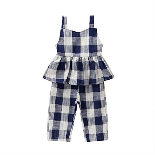 - Noubeau Toddler Kids Baby Girl Sleeveless Ruffle Romper Jumpsuit Backless Playsuit Outfit Overalls (Navy, 9-12 Months)