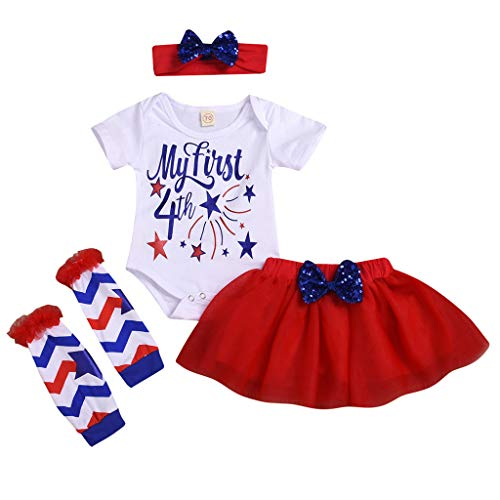 Baby Girl 1st 4th of July 4pcs Independence Day Outfits with Headband & Romper & Skirts & Leg Warmer (12-18 Months, Red)