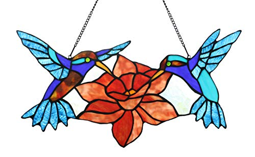 (Yolic 18 inches Hummingbird Tiffany Style Stained Glass Window Panel with Hanging Chain)