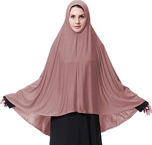 Ababalaya Women's Elegant Modest Muslim Islamic Ramadan Soft Lightweight Jersey Hijab Long Scarf,Dark Pink,XL by Ababalaya