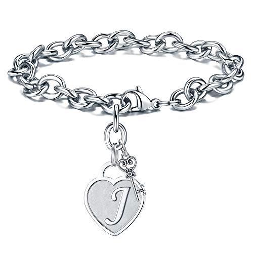 M MOOHAM Women Bracelets Initial Charm - Engraved Letter J Initial Bracelet Womens Stainless Steel Heart Letter Charm Bracelet Adjustable Birthday Christmas Valentines Jewelry Gifts for Her Women