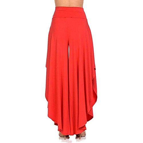 Larghi Eleganti Moda Rot Grazioso Waist Monocromo Estivi Donna Orlo Tempo High Colpo Libero Irregular Casual Pantalone Asimmetrica Pantaloni w0pHx