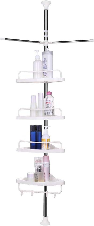 vpcok etagere de douche telescopique en acier inoxydable shampooing savon porte salle de bain d angle a 4 etages 110cm 300cm avec 4 crochets et 2
