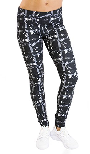 90 Degree By Reflex - Performance Activewear - Printed Yoga Leggings - Print 255 Abstract Plaid Grey Black M (90 Degree By Reflex Yoga Pants Review)