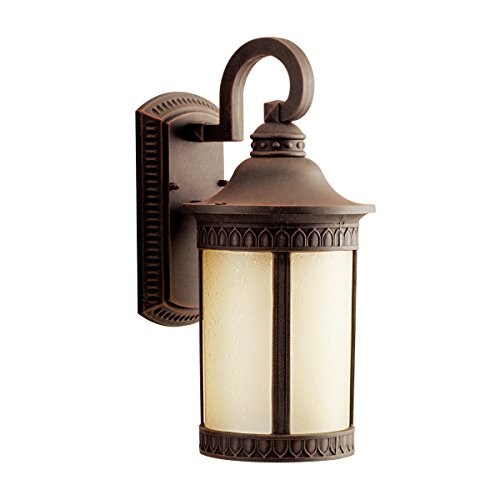 Kichler 10904PR Randolph 1LT 16IN 18W CFL Exterior Wall Lantern, Prairie Rock Finish with Umber Etched Seedy Glass - Wall 18w Cfl