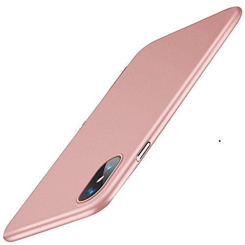 Pacyer Case for iPhone X, Hard PC Ultra Thin Hard Case Full Protective Matte Resistant Shock Absorbing Cover for iPhone 10 (Rose Gold, iPhone X)