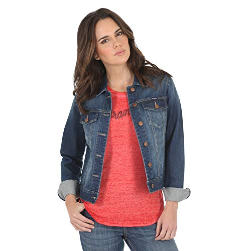 Wrangler Women's Western Fashion Denim Jacket, Dark Blue XXL
