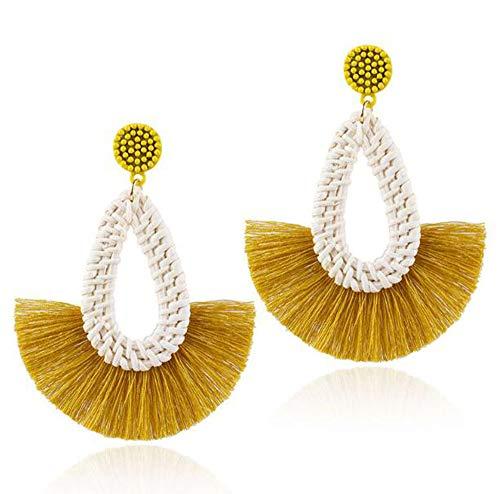 HoGadget Women Straw Rattan Weave Raffia Grass Long Tassels Earrings Bohemian Dangle Earrings (Yellow) -