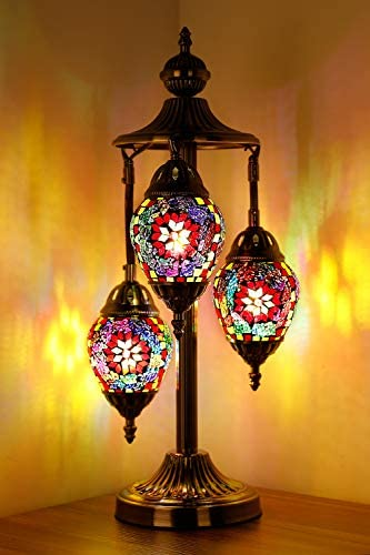 Marrakech 3 Globe Turkish Table Lamp Tiffany Style Mosaic Glass Moroccan Lantern Bedside Light for Living Room Bedroom Multi-Colored