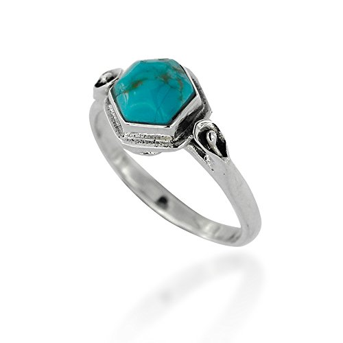 Chuvora 925 Oxidized Sterling Silver Blue Turquoise Gemstone Modern Geometric Hexagon Ring, Size 7
